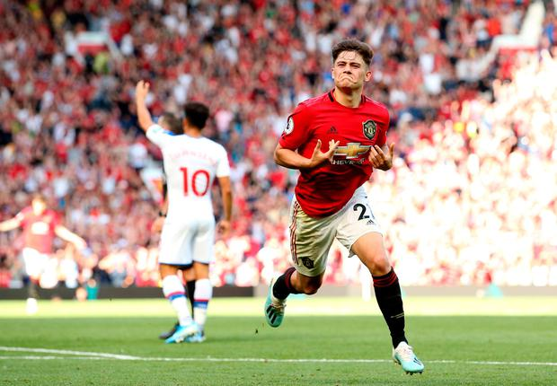 Daniel James of Manchester United celebrates scoring his team's first goal. Photo: Jan Kruger/Getty Images