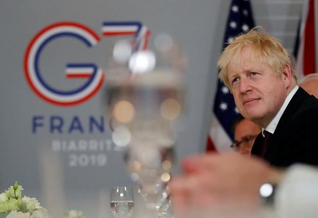 Britain's Prime Minister Boris Johnson is seen during a bilateral meeting with U.S. President Donald Trump during the G7 summit in Biarritz, France, August 25, 2019. REUTERS/Carlos Barria
