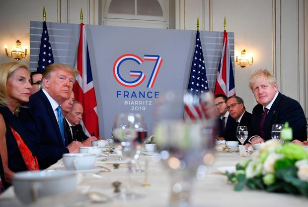 Prime Minister Boris Johnson meets US President Donald Trump for bilateral talks during the G7 summit in Biarritz, France. Dylan Martinez/PA Wire
