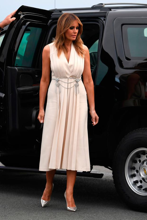 US First Lady Melania Trump arrives ahead of a working dinner at the Biarritz lighthouse, in Biarritz, France during the G7 summit