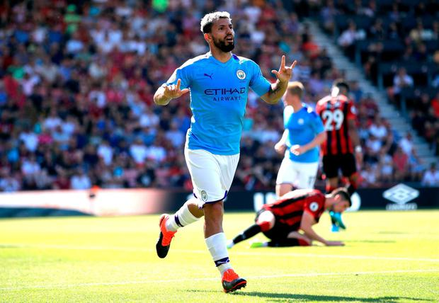 Manchester City's Sergio Aguero celebrates scoring his side's third goal of the game during the Premier League match at the Vitality Stadium, Bournemouth. Photo credit: Adam Davy/PA Wire.