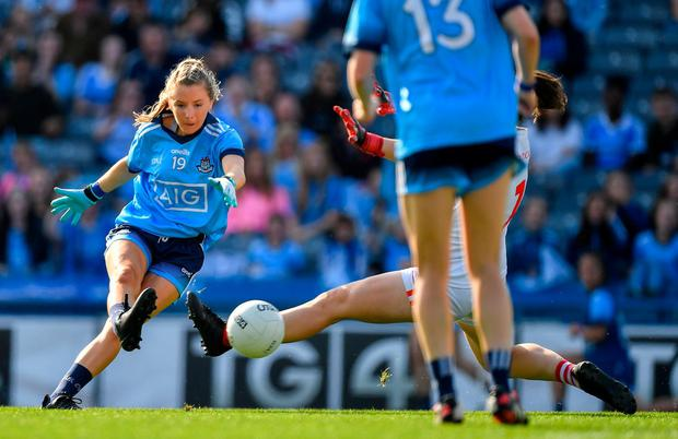 Caoimhe O'Connor of Dublin scores her side's first goal during the TG4 All-Ireland Ladies Senior Football Championship Semi-Final match between Dublin and Cork at Croke Park in Dublin. Photo by Brendan Moran/Sportsfile