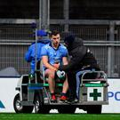 Paddy Andrews leaves the field on a medical buggy after a collision with Tyrone's Niall Morgan during their league clash. Photo: Piaras Ó Mídheach/Sportsfile