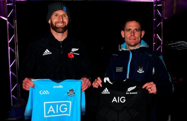 New Zealand captain Kieran Read and Dublin captain Stephen Cluxton were brought together at a sponsorship event in Dublin in 2018. Photo: Ramsey Cardy/Sportsfile