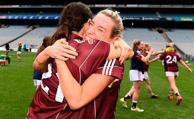 Galway's Megan Glynn, right and Fabienne Cooney celebrate following their All-Ireland semi-final win against Mayo. Photo: Sam Barnes/Sportsfile