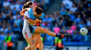 Dublin's Niamh Collins is fouled by Cork goalkeeper Martina O'Brien resulting in a penalty. Photo: Brendan Moran/Sportsfile
