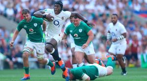 The Irish defence is left floundering as Maro Itoje runs in his try during Saturday's World Cup warm-up game at Twickenham. Photo: Warren Little/Getty Images