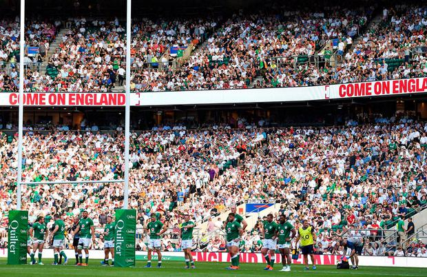 The Ireland team look on as England convert another try. Photo: Brendan Moran/Sportsfile