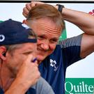 Head scratcher: Ireland head coach Joe Schmidt has plenty to ponder as he watches his team lose at Twickenham on Saturday. Photo: Brendan Moran/Sportsfile