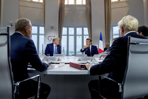 Debate: President Donald Trump at the G7 meeting in Biarritz, France. Photo: Andrew Harnik/Pool via REUTERS