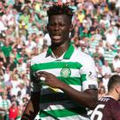 Celtic's Vakoun Issouf Bayo after his second goal. Photo: Jeff Holmes/PA Wire