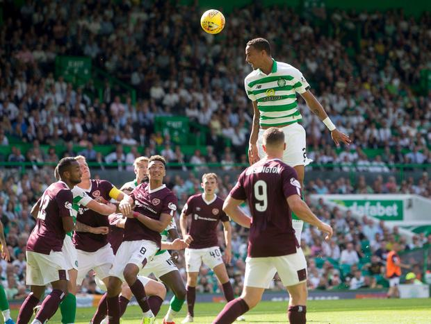 Celtic's Christopher Jullien heads over. Photo: Jeff Holmes/PA Wire