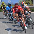 Red-letter day: Nicolas Roche leads the group of six escapees on the run into the finish in Calpe. Photo: Tim de Waele/Getty Images