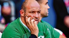 Rory Best looks dejected after an off-day for the Irish lineout in Twickenham. Photo: Brendan Moran/Sportsfile