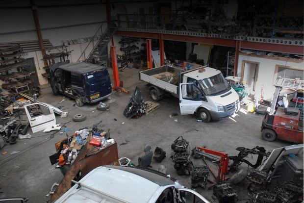 Hundreds of motor parts and stolen vans were seized from the 'chop shops' by specialist gardai after a two-year investigation