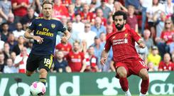 Mohamed Salah scores Liverpool's third goal against Arsenal on Saturday. Photo: Carl Recine/Action Images via Reuters