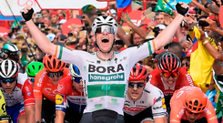 Team Bora rider Ireland's Sam Bennett celebrates his Vuelta stage win from Ibi to Alicante today. Photo: Jose Jordan/Getty Images