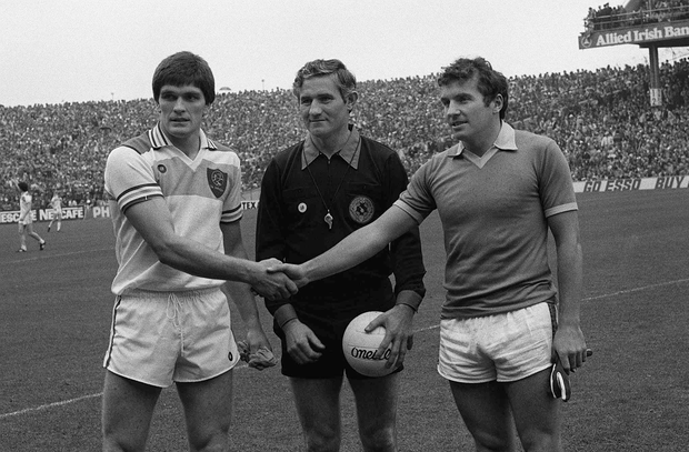 Richie Connor, Offaly captain, left, referee PJ McGrath and Kerry captain John Egan are pictured ahead of the All-Ireland SFC final at Croke Park on September 19 1982. Photo: Connolly Collection/SPORTSFILE