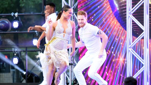 Katya Jones and Neil Jones during a performance at the red carpet launch of Strictly Come Dancing 2019 (Ian West/PA)