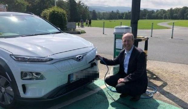 Unplugged: The photo Shane Ross uploaded to Twitter of him at a yet-to-be switched on charger