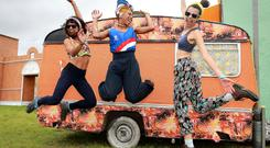 Keren Aguiar with Thais Muniz and Pati Guimaraes from Bogeda at the Freetown section, ahead of Electric Picnic in Stradbally Co Laois this weekend. Picture: Frank McGrath