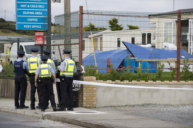 Gardai investigate the shooting of a man in his thirties at a mobile home in Ashling Holiday Park in Clogherhead, Co Louth. Picture: Arthur Carron