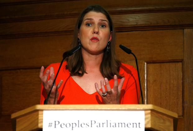 Last-ditch plans: Liberal Democrat leader Jo Swinson addresses an event organised by the British opposition, aiming to prevent the suspension of parliament to force through a no-deal Brexit. Photo: REUTERS/Henry Nicholls
