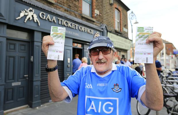 'I'm a born and raised Dub': Feilim Ó hÉanaigh from Blanchardstown with his tickets for the All-Ireland final. Photo: Gerry Mooney