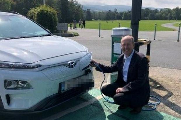 The photo Shane Ross uploaded to Twitter of him at a yet-to-be switched on charger