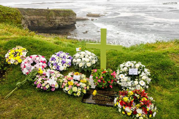 Wreaths at a memorial service in Mullaghmore, Co. Sligo, in memory of Lord Mountbatten and the others that died on his boat in 1979. Photo: James Connolly