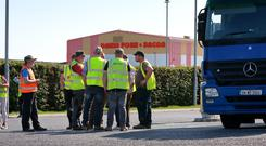 Farmers pictured during their protest outside the Dawn Meats plant at Grannagh in Waterford. Picture Credit:Frank McGrath.