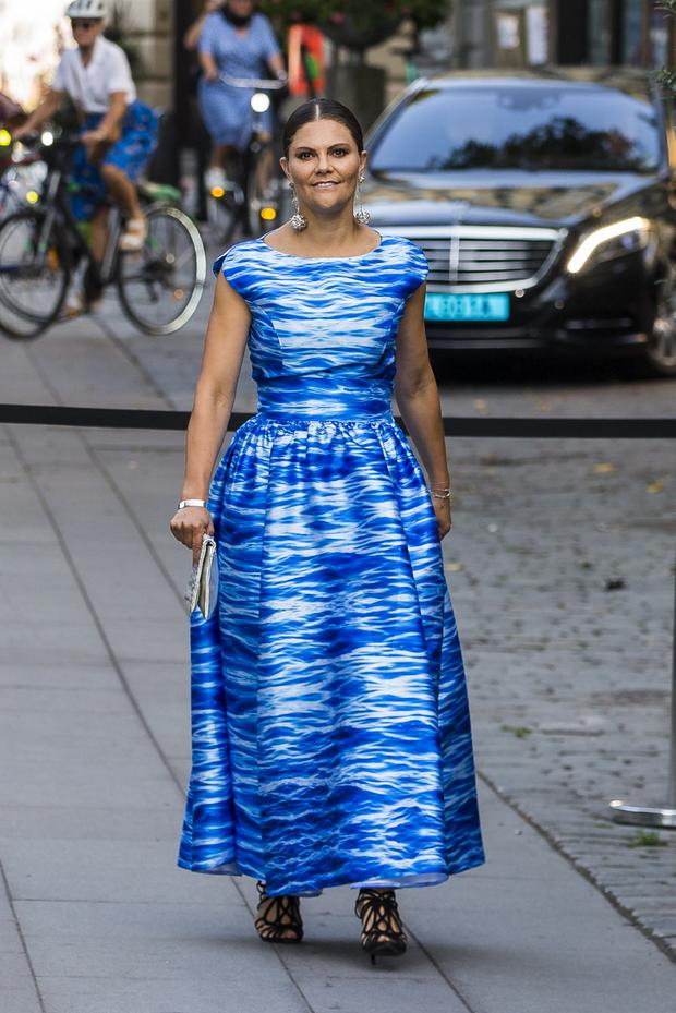 Crown Princess Victoria of Sweden arrives at a ceremony for the Stockholm Junior Water Prize at the Berns Hotel on August 27, 2019 in Stockholm, Sweden. (Photo by Michael Campanella/Getty Images)