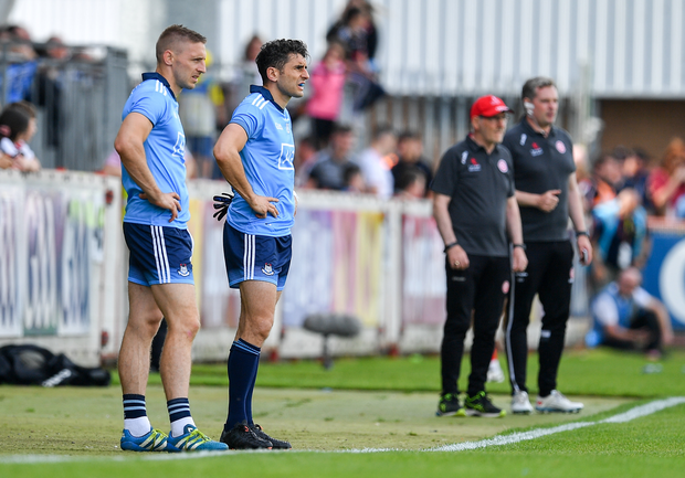 Bernard Brogan, centre, is in contention for a place in Dublin's All-Ireland final squad. Photo by Brendan Moran/Sportsfile