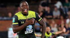 Southampton striker Michael Obafemi celebrates after scoring his side's first goal during the Carabao Cup second round win at Fulham. Photo: James Chance/Getty Images