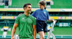 Conor Murray was on hand to launch the Aviva Mini Rugby Nations Cup wth Eve White (11) from Wicklow. Photo: Brendan Moran/Sportsfile