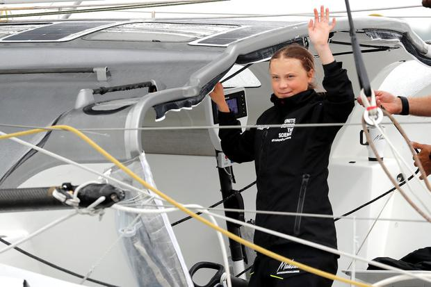 Greta Thunberg sailed to the US after ruling out a flight. Photo: Mike Segar/Reuters