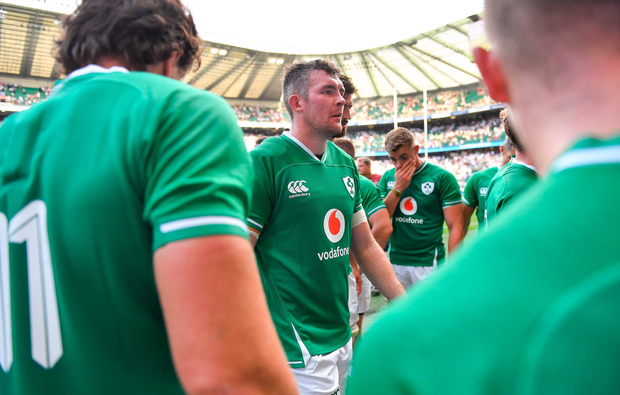 Peter OMahony of Ireland leaves the pitch following England defeat