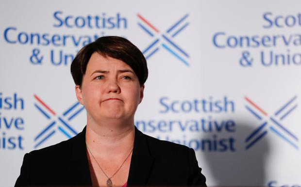 Leader of the Scottish Conservative Party Ruth Davidson announcing her resignation REUTERS/Russell Cheyne