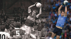 High risers: 32 years apart but against the same opposition at the same venue, Kerry's Jack O'Shea takes the ball above the heads of Monaghan players during the 1985 All-Ireland SFC semifinal; Dublin's Brian Fenton leaps above everyone against Monaghan during the 2017 quarter-final at Croke Park