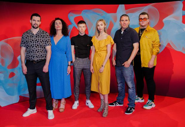 Dane Whyte O'Hara with Darklands co-stars at the Virgin Media launch this week. Photo: Brian McEvoy