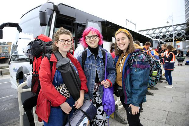 Electric Picnic festival revellers depart Dublin for Stradbally. Jodie Doyle, Megan Brady and Stephanie Lonergan prepare to board the bus for the Co. Laois venue. Picture; Gerry Mooney