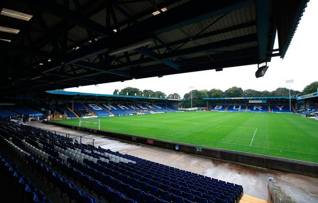 A general view of the pitch before the club is closed at Gigg Lane, Bury. Photo: Peter Byrne/PA Wire