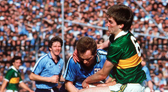 1985: Tom Spillane takes on Barney Rock. Photo: Sportsfile