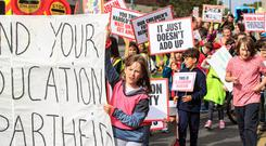 Student protest: Children march to demand postcode equality in education at Harold's Cross. Photo: Mark Condren