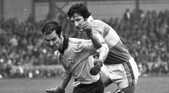 Foes to friends: Dublin's Tony Hanahoe and Kerry's Tim Kennelly during the 1975 All Ireland final
