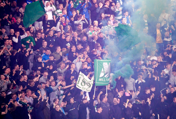 Shamrock Rovers supporters following the match. Photo: Stephen McCarthy/Sportsfile