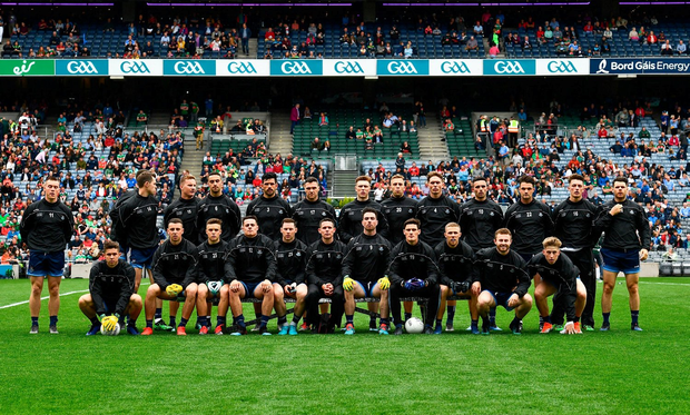 The Dublin squad before the GAA Football All-Ireland Senior Championship Semi-Final match between Dublin and Mayo at Croke Park in Dublin. Photo by Ray McManus/Sportsfile