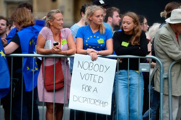 Protestors from Another Europe is Possible outside the Houses of Parliament, London, to demonstrate against Prime Minister Boris Johnson temporarily closing down the Commons from the second week of September until October 14 when there will be a Queen's Speech to open a new session of Parliament. Kirsty O'Connor/PA Wire