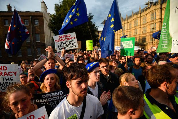 Protesters outside the Houses of Parliament, London, to demonstrate against Prime Minister Boris Johnson temporarily closing down the Commons from the second week of September until October 14 when there will be a Queen's Speech to open a new session of Parliament. Kirsty O'Connor/PA Wire