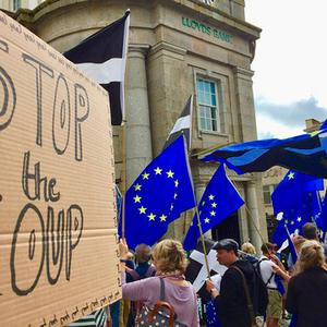 Handout photo taken with permission from the twitter feed of @JaneJohnsonBakr showing a protest in Penzance, Cornwall against Prime Minister Boris Johnson's decision to suspend Parliament for up to five weeks before a Queen's Speech on October 14. Jane Johnson/PA Wire
